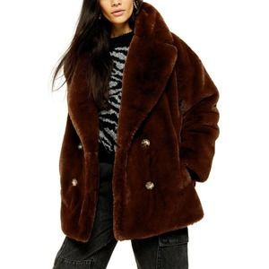 nwt topshop Ally Faux Fur Double Breasted Coat
